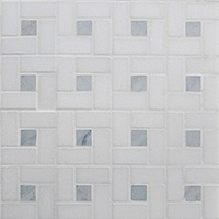 Stone - Rubic Square Carrara with Bardiglio Dot